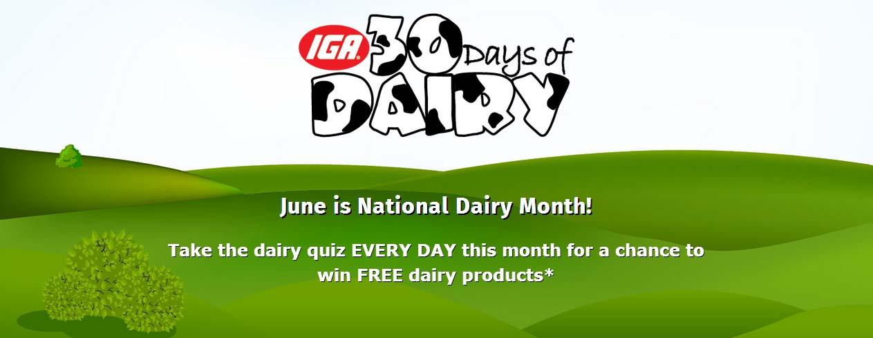 IGA 30 Days of Dairy Sweepstakes