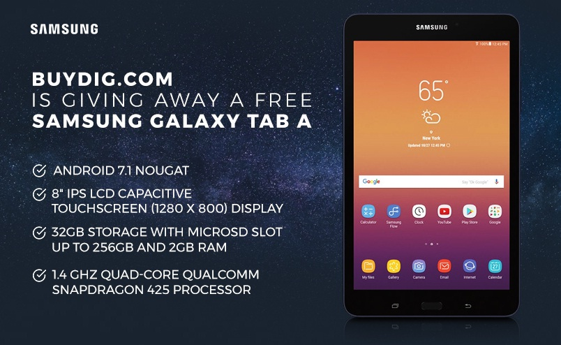 Buydig Samsung Galaxy Tab A Giveaway - Win Samsung Galaxy Tab A
