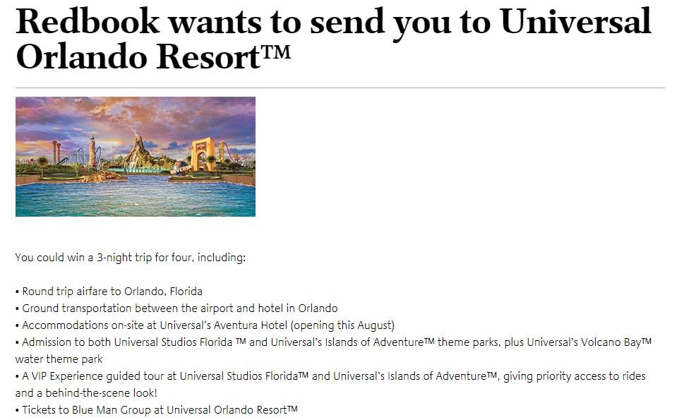 Redbook Universal Orlando Resort Summer Sweepstakes - Win A Trip To Orlando, Florida