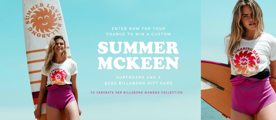 Summer Mckeens Billabong Women Surfboard Sweepstakes
