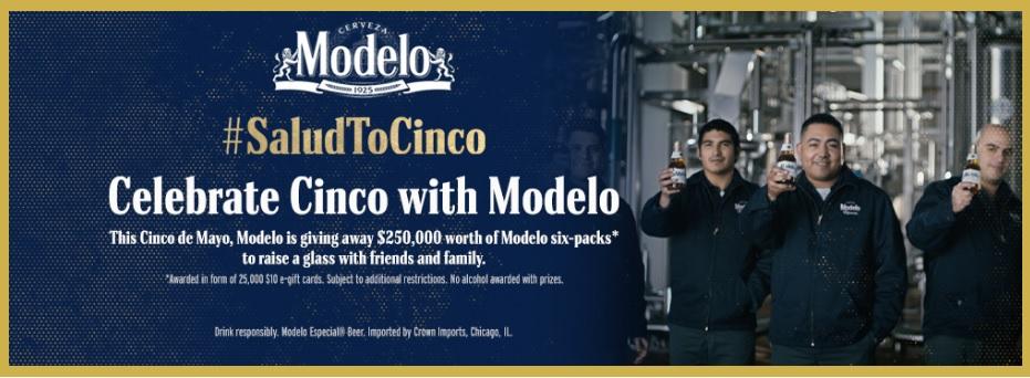 Modelo Cinco De Mayo $10 Gift Card Sweepstakes
